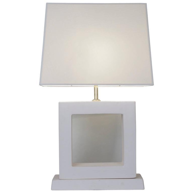 Late 20th Century White Unglazed Ceramic Table Lamp