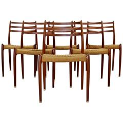 Mid-Century Danish Modern Set of Six Teak Cord Dining Chairs Jonsson for Moller