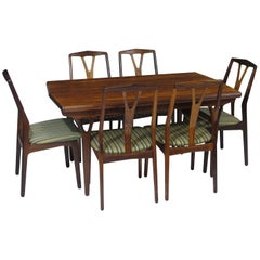 Danish Rosewood Dining Table and Chairs Set