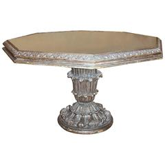 Italian Silver Leaf Carved Acanthus Giltwood Hexagon Center Table
