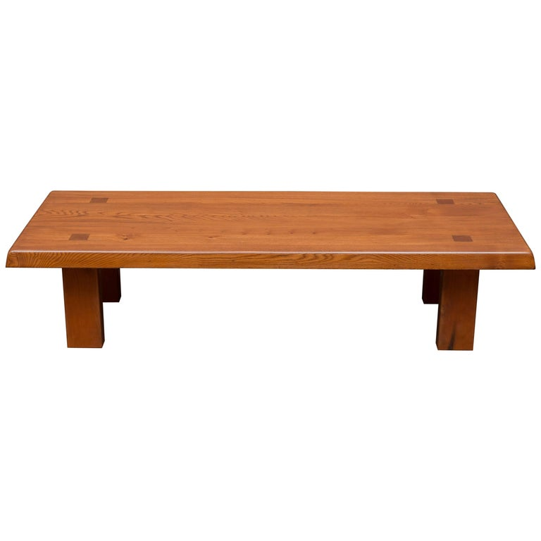 Pierre Chapo French Elm Coffee Table For Sale