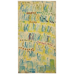 "Purvis Young ""Rows of People."" on Wood Abstract, Green on Green"
