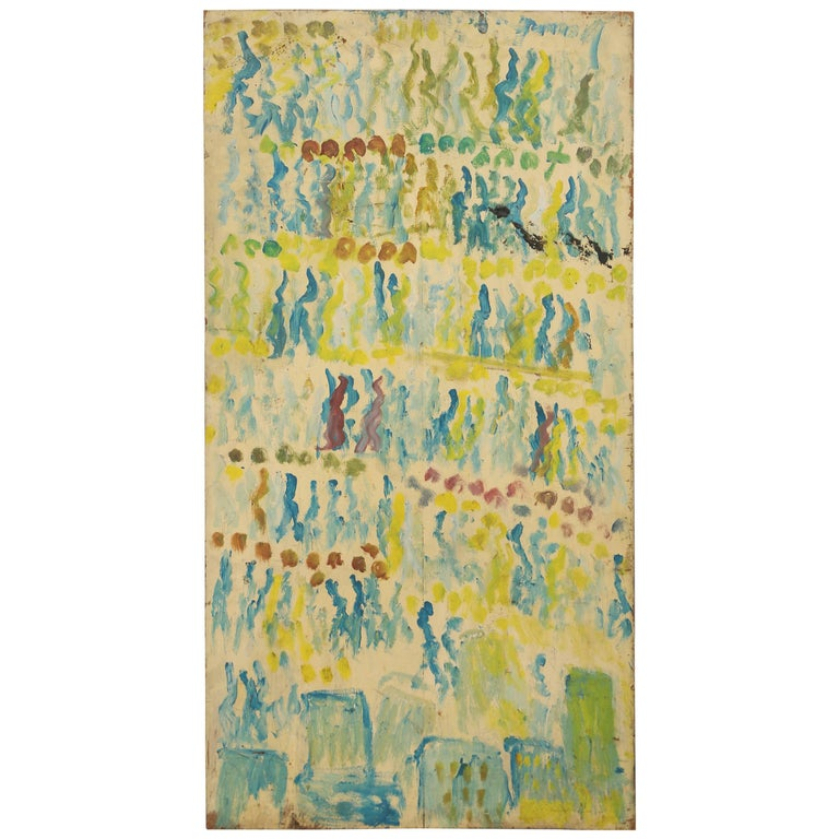 "Purvis Young ""Rows of People."" on Wood Abstract, Green on Green 1"