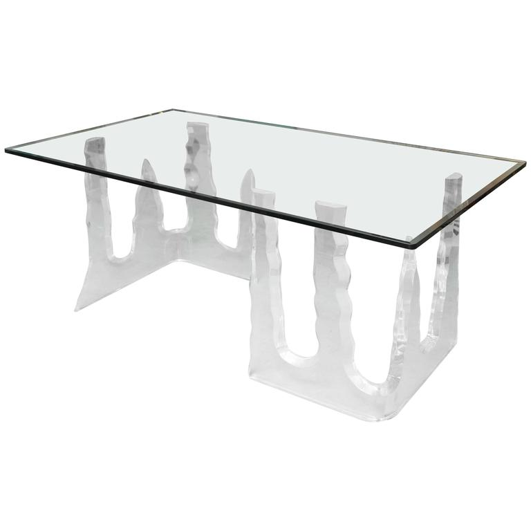 Lucite Dining Table or Executive Desk, Midcentury, Can Support Larger Glass Top 1