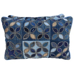 Pair of Blue Quilted Floral Pillows with Linen Backs