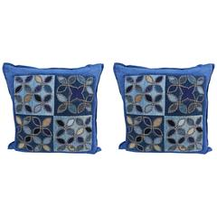 Pair of Custom Blue Quilted Square Shaped Pillows