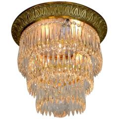 Three-Tier Cast Brass Crystal Flush Mount