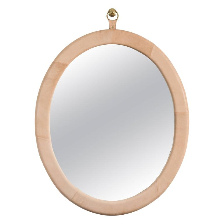 Leather Oval Mirror by Jason Koharik for Collected by For Sale