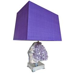 Spectacular Willy Daro 1970s Amethyst Table Lamp