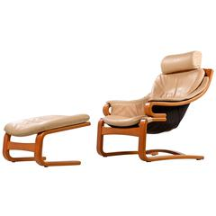 Danish Modern Skipper Mobler Teak and Leather Armchair with Ottoman, 1980s