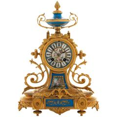 Late 19th Century French, Ormolu and Blue Sèvres Porcelain Clock