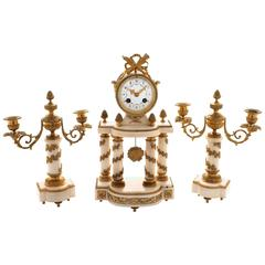 Late 19th Century, French, White Marble and Ormolu Clock Garniture