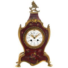 Early 20th Century French, Painted Red Clock by Charvet, Lyon