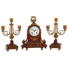 Early 20th Century French Pink Marble and Ormolu Clock Set by Japy Frere