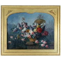 Oil on Canvas Late 18th Century Bouquet of Flowers Sign by Le Riche, circa 1790
