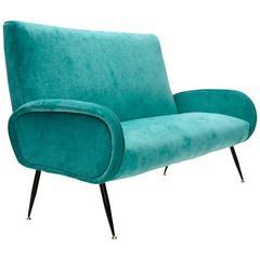 Italian Mid-Century Velvet Sofa
