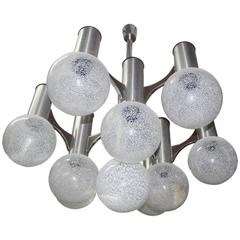 Sculpture Chandelier Sciolari , glass, metal, Italian design 1970