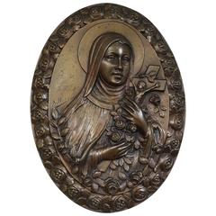 Rare Art Deco Bronze Wall Plaque of Saint Theresia of Lisieux by Sylvain Norga
