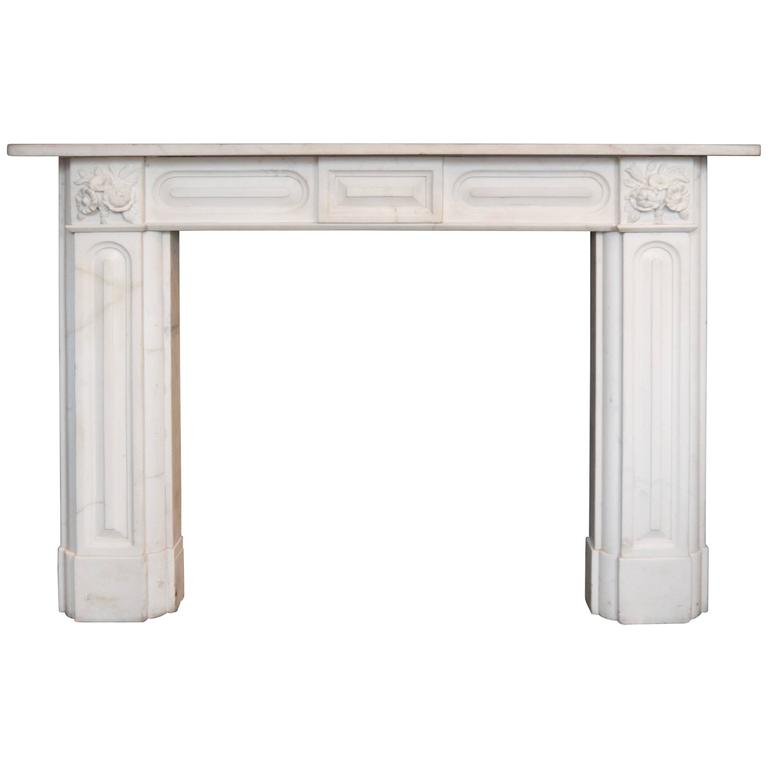Antique Regency Statuary White Marble Fireplace