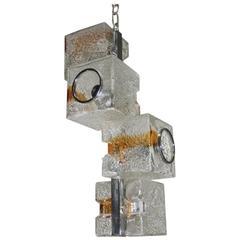VeArt Sculpture Cube Design Chandelier 1970s Murano Art Glass