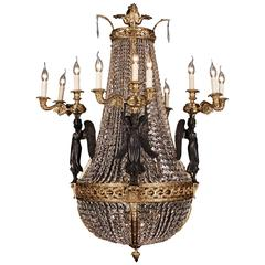 Representative Bronze Chandelier with Crystal, Pierre Philippe-Thomire