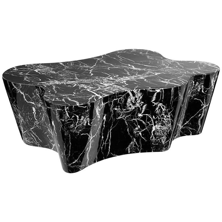 Trespa Coffee Table In Black Or White Resin Marble At 1stdibs