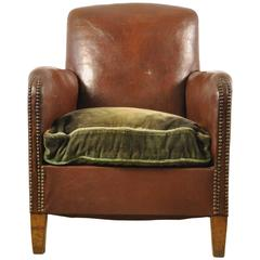 1920s Three Quarter Leather Club Chair