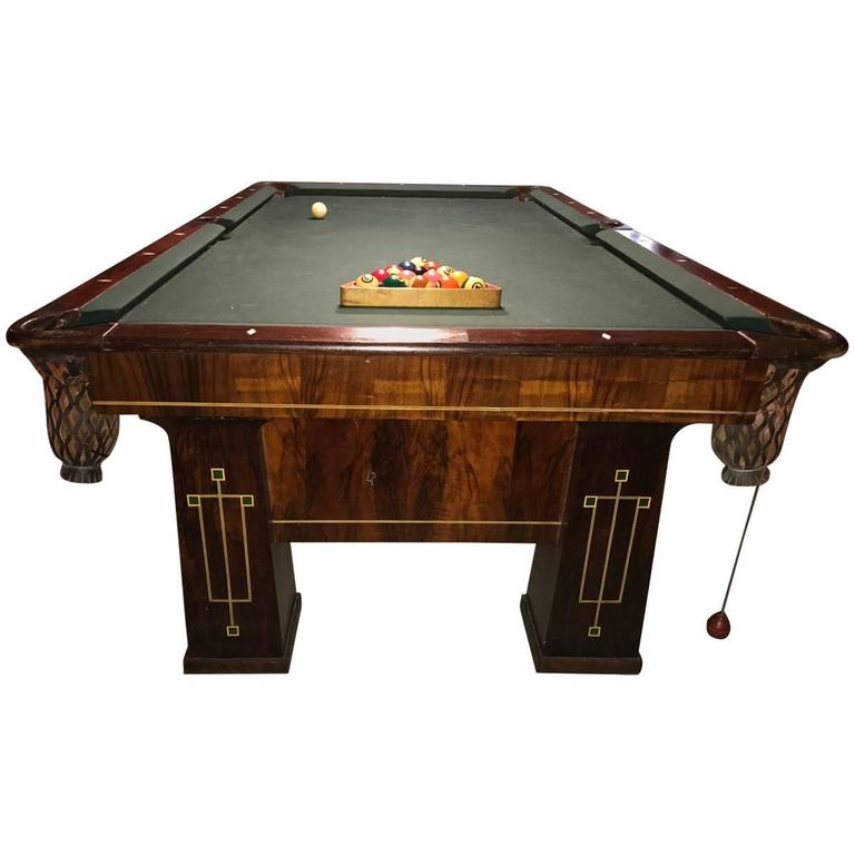 Rare 1918 brunswick balke collender arts and crafts pool for Brunswick pool tables
