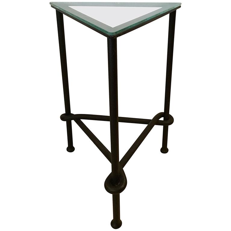 Heavy wrought iron and glass triangular mid century modern for Wrought iron and glass side tables