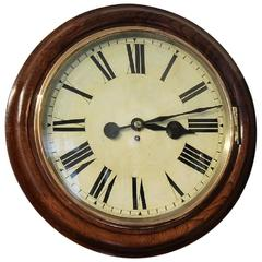 Late 19th Century Large Oak Cased Fusee Wall Clock