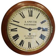 Late 19th Century Mahogany Wall Clock Signed A.Smyth Watchmaker Belfast