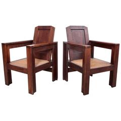 Pair of Joseph Savina Lounge Chairs in Oak, France, 1940s