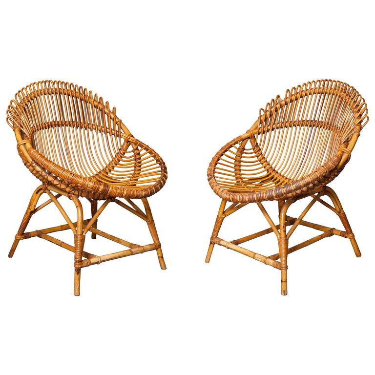 Pair of 20th Century Italian Wicker Chairs, 1960s