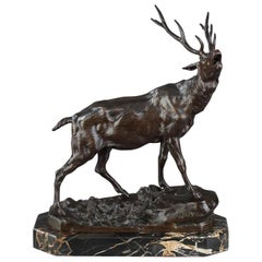 """Bronze Sculpture """"The Calling Stag"""" by Charles Valton"""