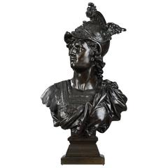 """19th Century Bronze """"Mercury Bust"""" by Eutrope Bouret, French, 1833-1906"""