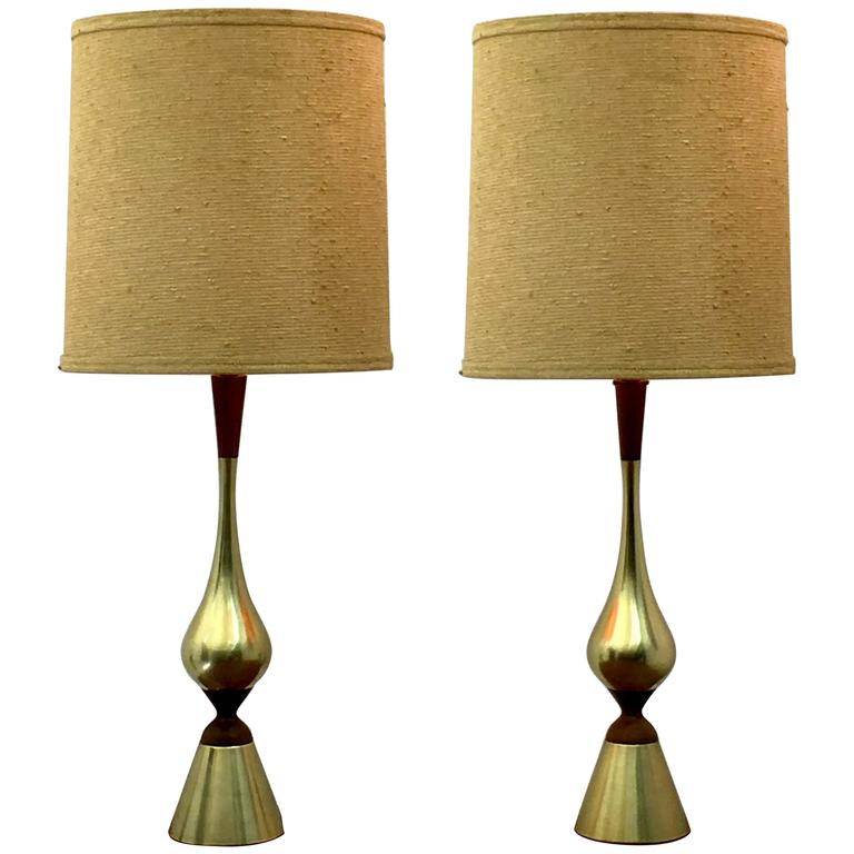 Elegant Pair of Tall Table Lamps by Westwood Industries, circa 1955