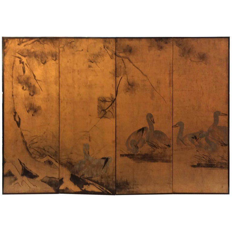 French 1960 Four-Panel Hand-Painted Screen