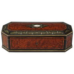 Mid-19th Century Wood Casket with Brass and Mother-of-Pearl Decoration