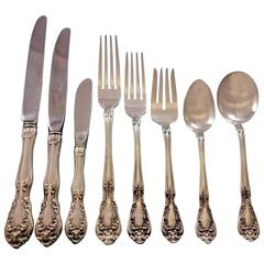 Chateau Rose by Alvin Sterling Silver Flatware Set for 8 Dinner Service 74 Pcs