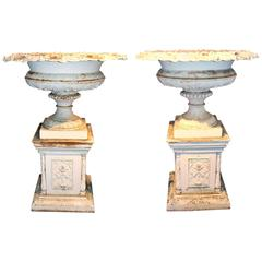 Monumental Pair of Victorian Iron Urns on Plinths