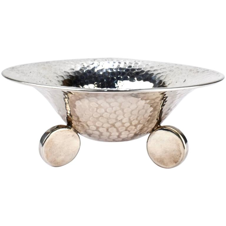 Art Deco Period Hand-Hammered Polish 800 Silver Tab Footed Bowl