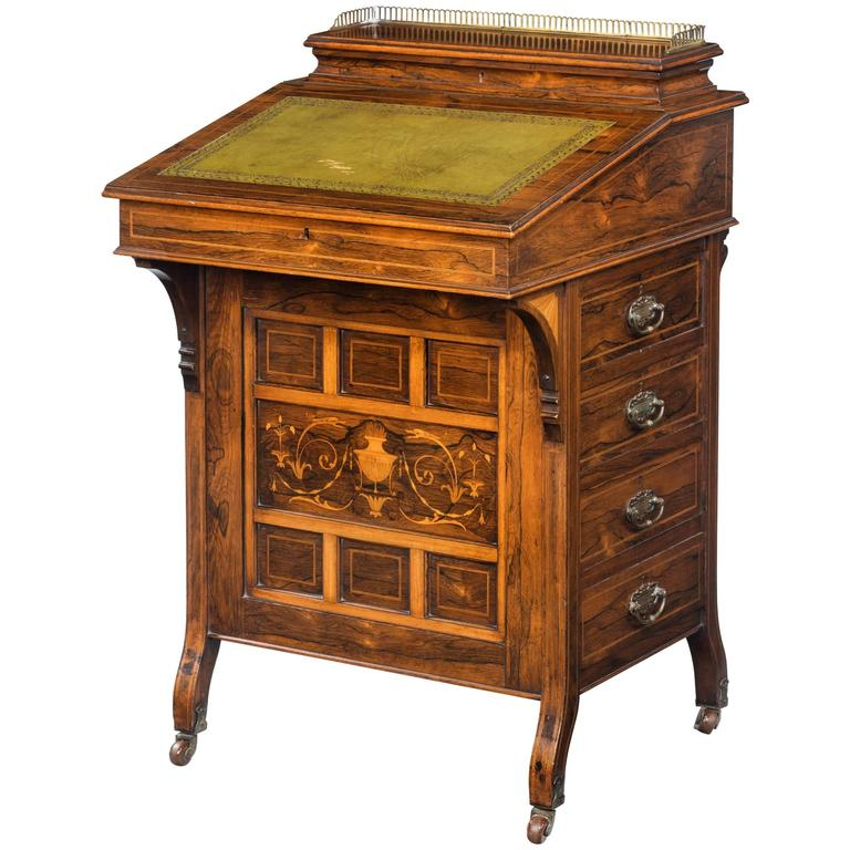 Late 19th Century Davenport Desk with a Marquetry Panel