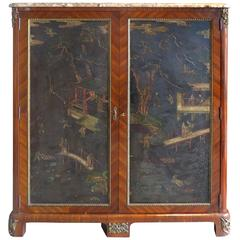 18th Century French Chinoisserie Cabinet with Marble Top and Bronze Mounts
