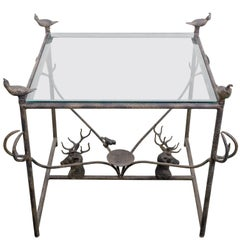 Decorative Metal Side Table with Quail and Stag Head Motifs