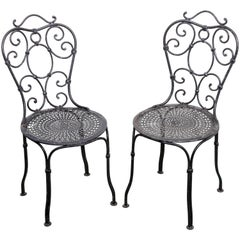 Pair of 19th Century French Wrought Iron Garden Chairs