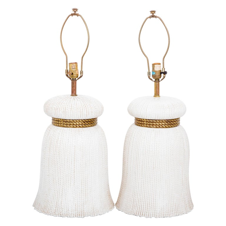 Pair of Ceramic Tassel Lamps