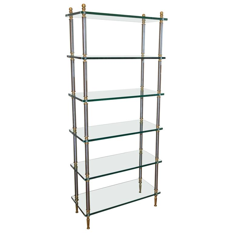 italian maison jansen style brass steel etagere display bookshelf at 1stdibs. Black Bedroom Furniture Sets. Home Design Ideas