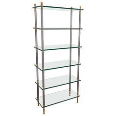 Italian Maison Jansen Style Brass Steel Etagere Display Bookshelf
