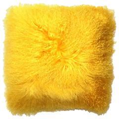 Mongolian Yellow Fur Throw Pillow