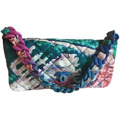 Chanel Printed Nylon Quilted Shoulder Flap Bag, Italy